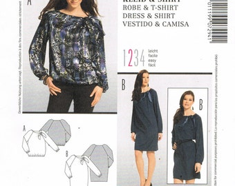 ecdfd1dd66e Size 10-22 Misses' Easy Dress & Tunic Top Sewing Pattern - Loose Fitting  Sack Dress Pattern - Elastic Hem Tunic Top Pattern - Burda 7294