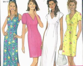 e24a2a0b661343 Maat 8-18 Misses   gemakkelijk V-hals mouwloos of korte mouw lange of korte  stropdas terug jurk naaien patroon-nieuwe look 6594