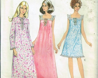 6305ba9329 Size 12-14 Misses  Vintage Nightgown Sewing Pattern - Sleeveless Long Or  Short Nightgown - Lace Trimmed Nightgown - Style 2624