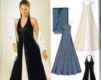 1aa0157187 Size 6-16 Misses' Evening Dress Sewing Pattern - Long Bustier or Halter  Neck Dress Sewing Pattern - Pleat Front Dress - Prom - New Look 6318