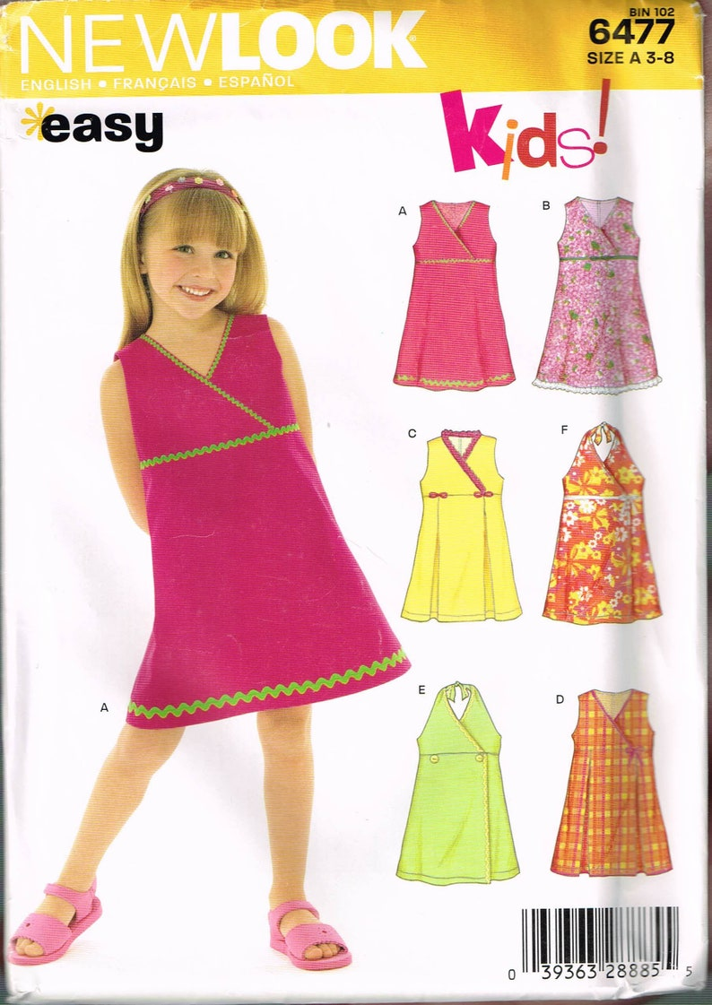 813047078ff346 Size 3-8 Girl's Easy Dress Pattern Halter Neck Dress | Etsy