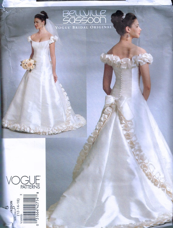 Size 12 16 Wedding Dress Sewing Pattern Off Shoulder Wedding Etsy