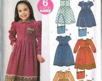 Size 3-8 Girl's Easy Dress Pattern - Long Dress Sewing Pattern - Peter Pan Collar - Puff Sleeve Dress - Simplicity 5483