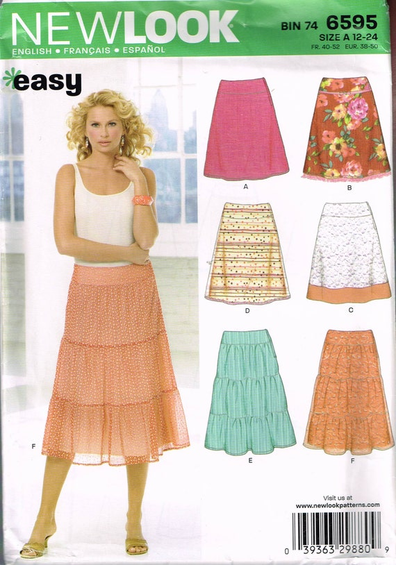 Size 12 24 Misses Easy Plus Size Skirt Sewing Pattern A Line Etsy