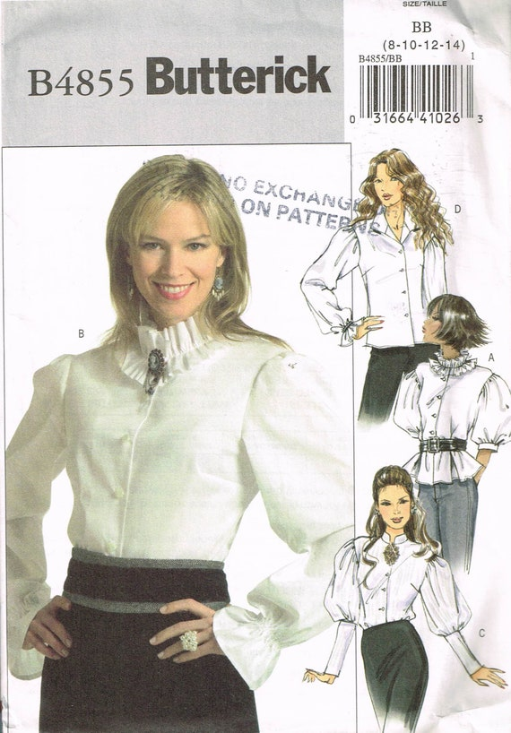 Size 8 14 Misses Blouse Sewing Pattern Neck Ruffle Blouse Etsy