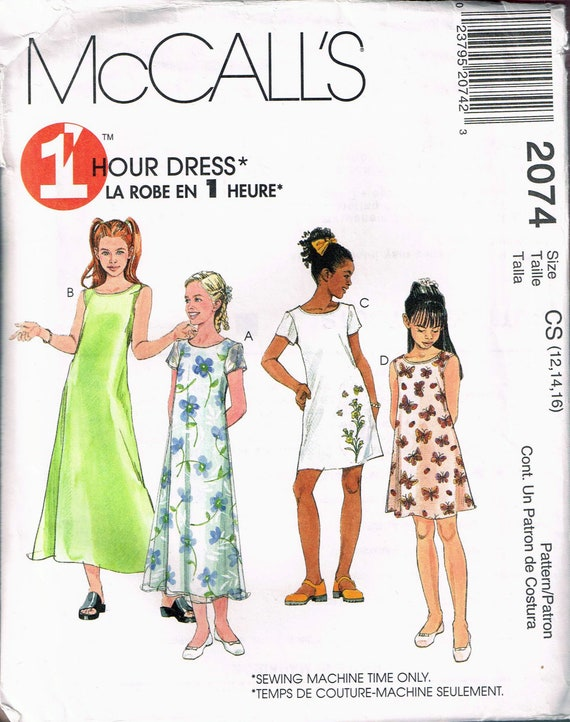 Size 12-16 Girls Easy Dress Sewing Pattern Short Sleeve | Etsy