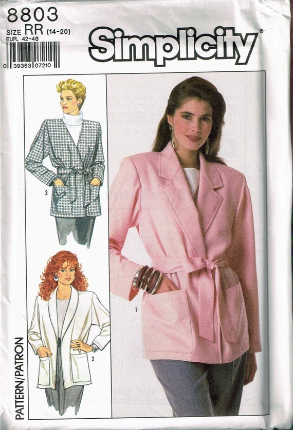 Size 14 20 Misses Plus Size Easy Shawl Collar Wrap Jacket With Belt Sewing Pattern Simplicity 8803