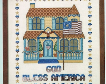 All American House Counted Cross Stitch Pattern - God Bless America - Americian Flag - Patriotic Cross Stitch