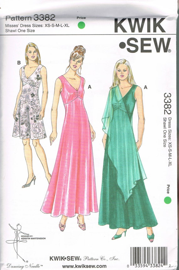Size XS-XL Misses\' Evening Gown Sewing Pattern - V Neck Gathered ...