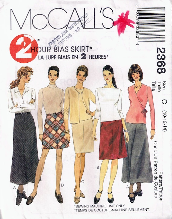Size 10 14 Misses Easy Skirt Sewing Pattern Long Ankle Etsy