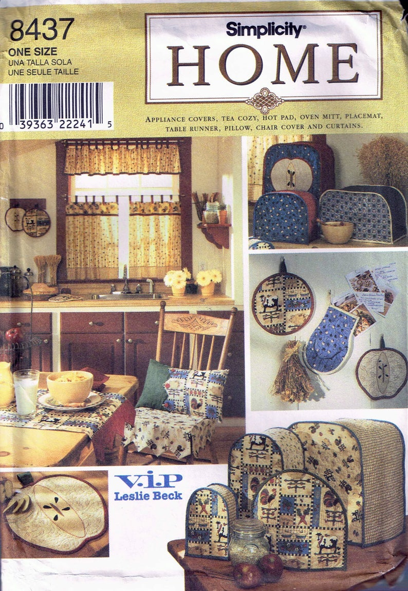 Tea Cozy Placemat and Apron Toaster Cover Vintage Sewing Pattern for Kitchen Applicance Covers and Curtains Simplicity 8880 G