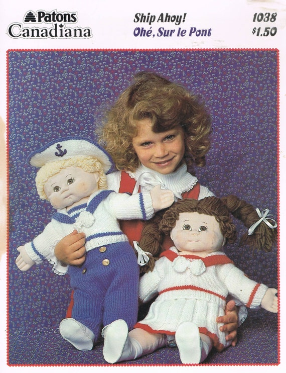 Doll Knitting Pattern Cabbage Patch Kids Nautical Clothes Etsy