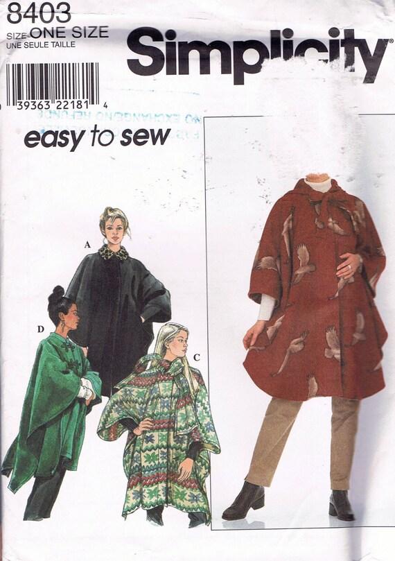 Tamaño de fácil coser cabo patrón XS-L señoritas capa con