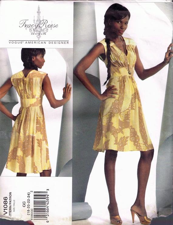 Size 18-24 Misses Plus Size Dress Sewing Pattern - Deep V Neck Sleeveless  Dress - Princess Seams - Knee Length - Tracy Reese - Vogue V1086
