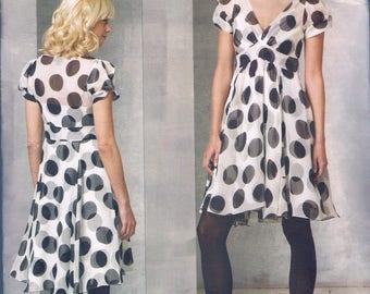 Size 14-20 Misses' Dress Pattern - Empire Waist Flared Dress - V Neck Dress - Knee Length Dress Pattern - DKNY Vogue V1160
