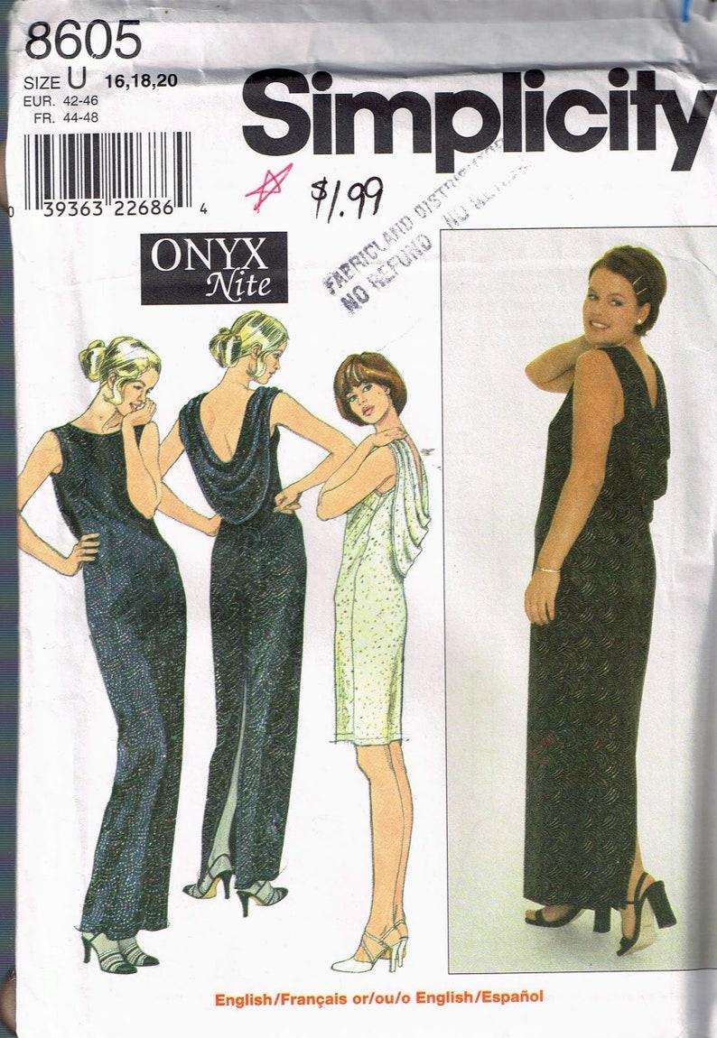 0f4a673f88 Size 16-20 Misses  Formal Dress Pattern Low Back Long