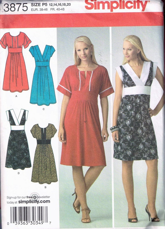 Size 12-20 Misses\' Plus Size V Neck Empire Waist Short Sleeve Knee Length  Dress Sewing Pattern - Simplicity 3875