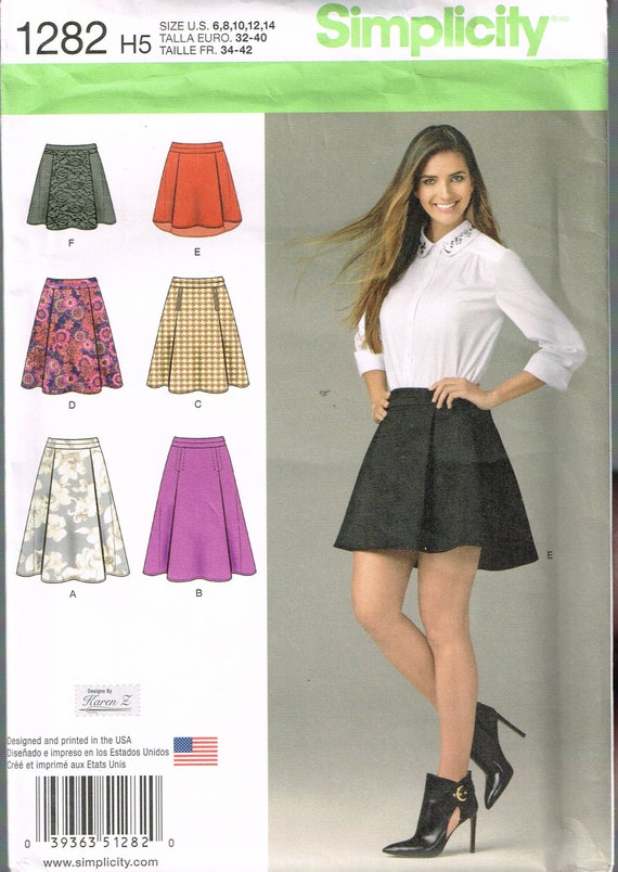 Size 6 14 Misses Skirt Sewing Pattern Flared Mini Etsy