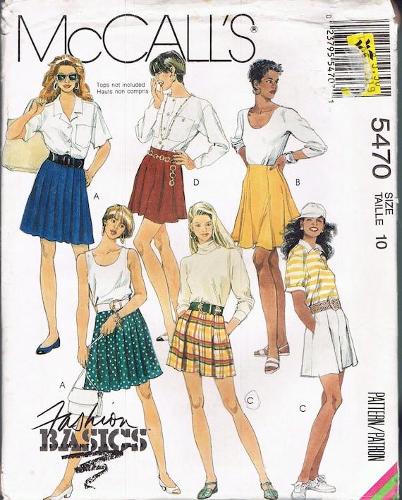 Size 10 Misses Skirt Sewing Pattern Pleated Short Skirt Etsy