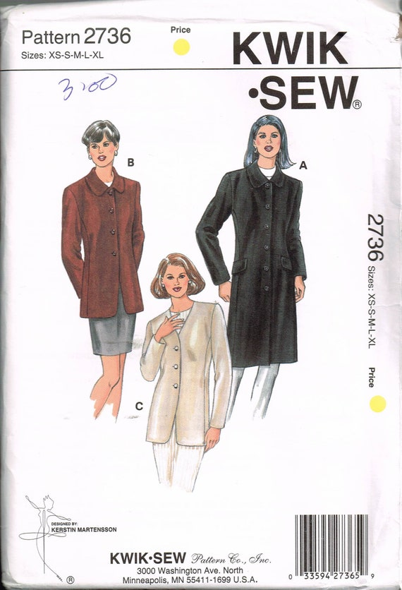 Size Xs Xl Misses Jacket Sewing Pattern Knee Length Etsy