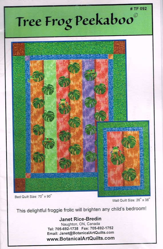 Tree Frog Leaf Bed Quilt Sewing Pattern Paper Pieced Quilt Etsy