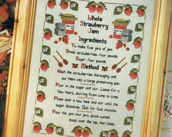 Strawberries Jam Recipe Sampler Cross Stitch Pattern - Fruit Sampler - Kitchen Decor Pattern - Berry Sampler Pattern
