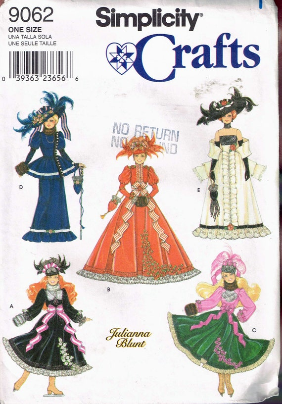 Barbie Doll Edwardian Dress Sewing Pattern Doll Skating
