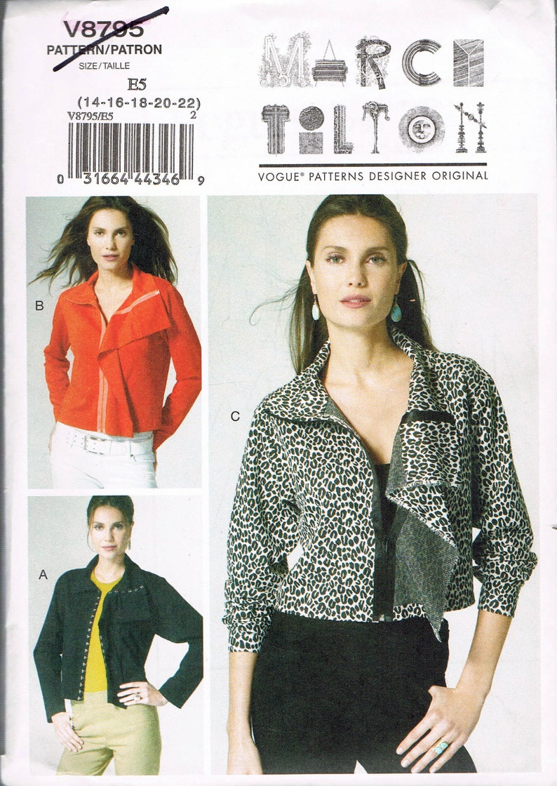 3d97709095d18 Size 14-22 Misses  Easy Plus Size Jacket Sewing Pattern