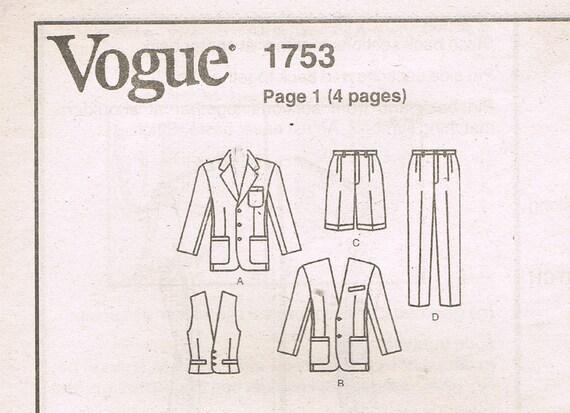 Size 44-48 Mens 3 Piece Suit Sewing Pattern Mens Vest   Etsy