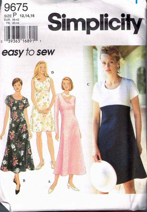 Size 6060 Misses' Easy Dress Sewing Pattern Empire Etsy Mesmerizing Easy Dress Sewing Patterns
