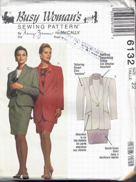 Size 22 Misses Plus Size Shawl Collar Below Hip Length Jacket & Knee Length Slim Skirt Sewing Pattern McCalls 6132