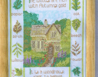 Fall Cottage Sampler Counted Cross Stitch Pattern - English Cottage Cross Stitch - House Cross Stitch - Tree Leaf Cross Stitch