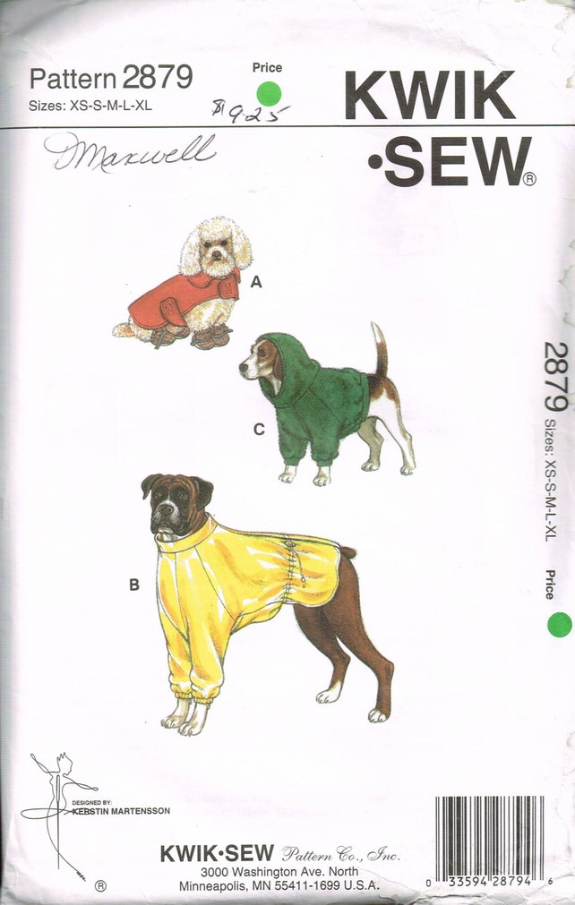 Size XS-XL Dog Coat & Dog Booties Sewing Pattern Small or | Etsy