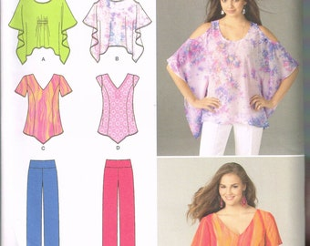 Size 4-26 Misses Plus Size Tops & Pants Easy Sewing Pattern - Poncho Style Tunic Top Pattern - Loose Fit Top - Yoga Pants - Simplicity 1667