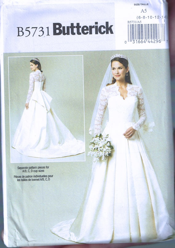 Size 6-14 Misses\' Wedding Dress Sewing Pattern Lace