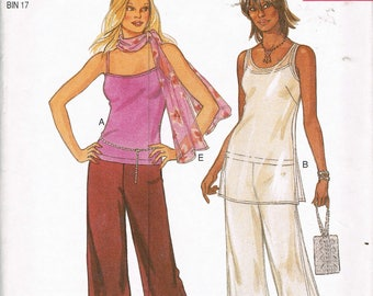 Size 8-18 Misses' Pants & Tunic Top Sewing Pattern - Wide Leg Palazzo Pants - Tank Top Tunic Pattern - New Look 6077