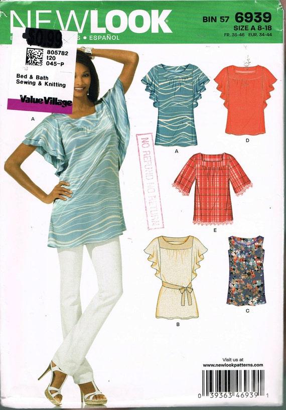 Tamaño blusa fácil coser patrón cuello cuadrado Redondo | Etsy