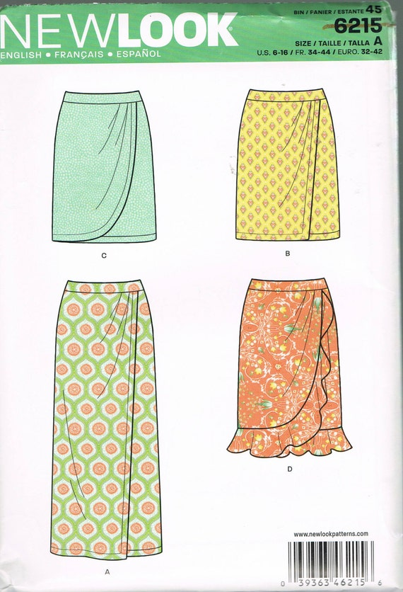 Size 6-16 Misses Easy Skirt Sewing Pattern - Long or Short Mock Wrap ...