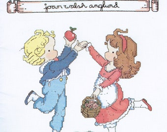 Children Cross Stitch Pattern - Children Playing - Christmas - Thanksgiving - Inspirational - Joan Walsh Anglung - Gloria & Pat