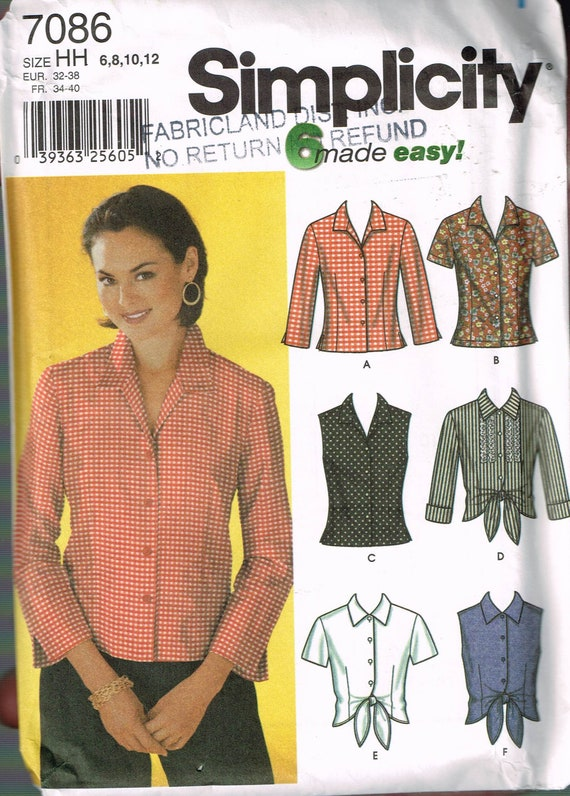 Size 6 12 Misses Easy Blouse Sewing Pattern Tie Front Blouse Etsy