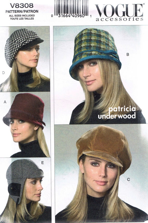 Women\'s Hat Sewing Pattern - Misses\' Winter Hat Pattern - News Boy ...