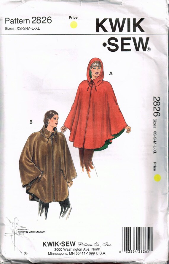 Size Xs Xl Misses Poncho Sewing Pattern Hooded Poncho Etsy