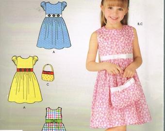 Size 3-8 Girls Easy Sleeveless Knee Length Dress & Purse Sewing Pattern - Simplicity 4658