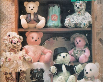 Jointed Teddy Bear Sewing Pattern - Vintage Teddy Bear Pattern - Doll With Clothes Sewing Pattern -  Soft Toy Sewing Pattern - Butterick 182