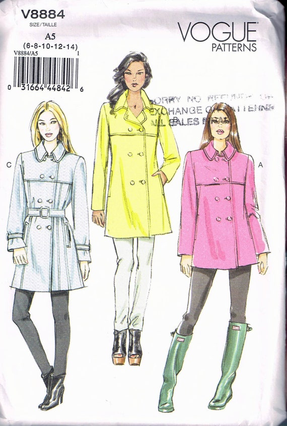 Size 8 14 Misses Trench Coat Sewing Pattern Double Etsy