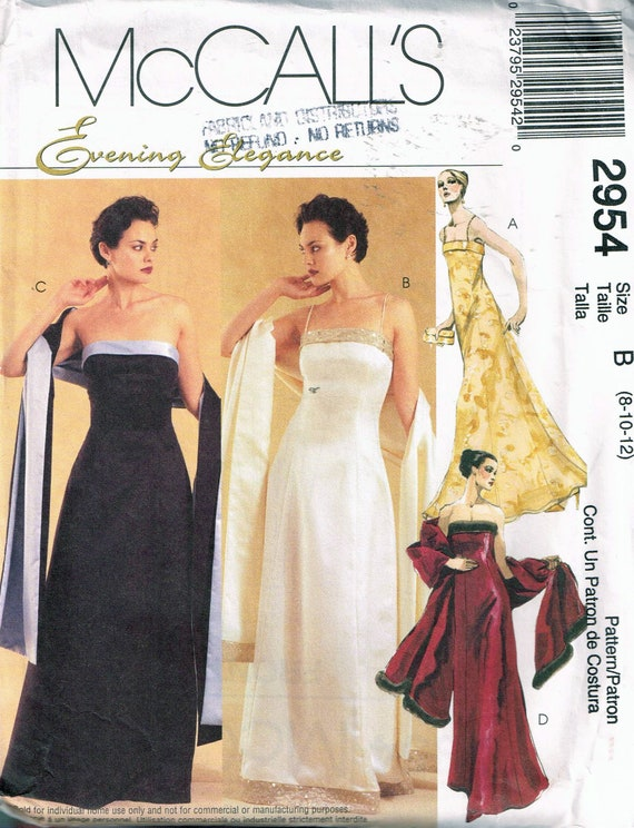 Size 8 12 Misses Formal Dress Sewing Pattern Bustier Etsy