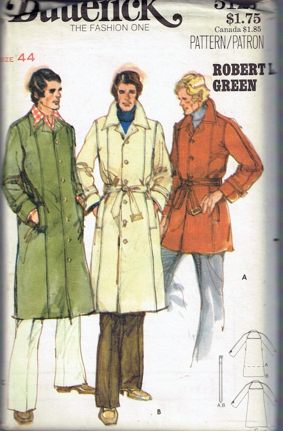 Size 40 Men's Vintage Coat Sewing Pattern Men's Long Custom Mens Trench Coat Pattern