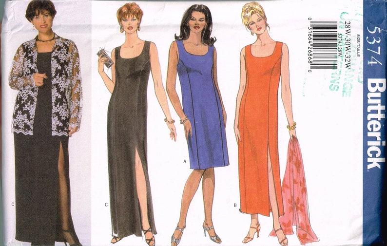 Size 28-32 Misses\' Plus Size Easy Formal Dress Pattern - Sleeveless  Straight Long Dress - Long Swing Jacket Sewing Pattern - Butterick 5374