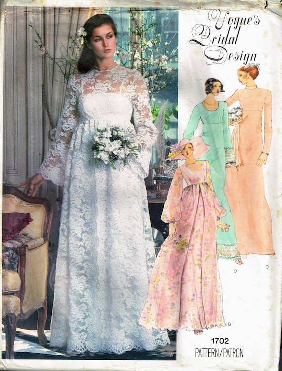Size 14 Vintage Boho Wedding Dress Sewing Pattern Empire | Etsy