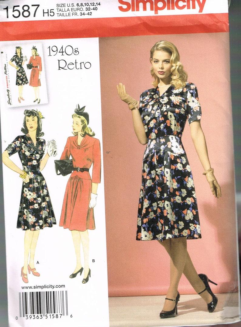 ec9ef715f6 Size 6-14 Vintage Misses' Dress Pattern V Neck Knee | Etsy